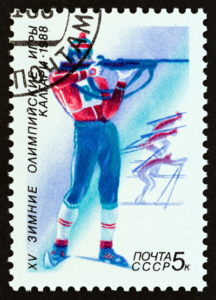 1988 russian biathlon stamp