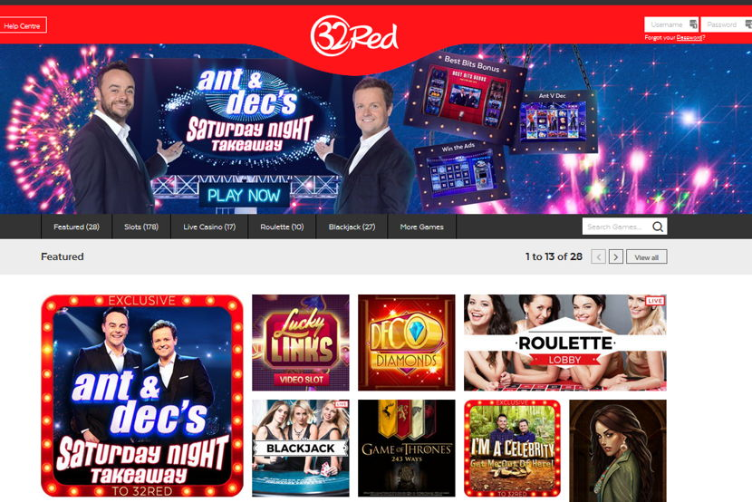 32red home page casino screenshot