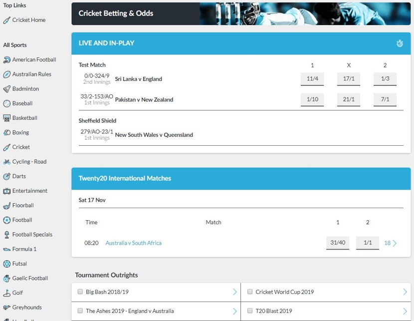 BetVictor Markets and Odds