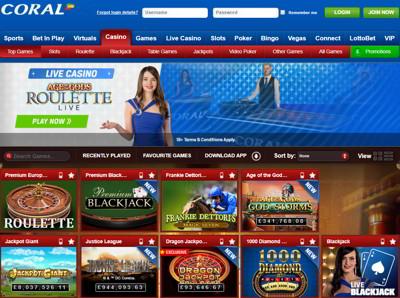 Coral Casino Home Page Screenshot