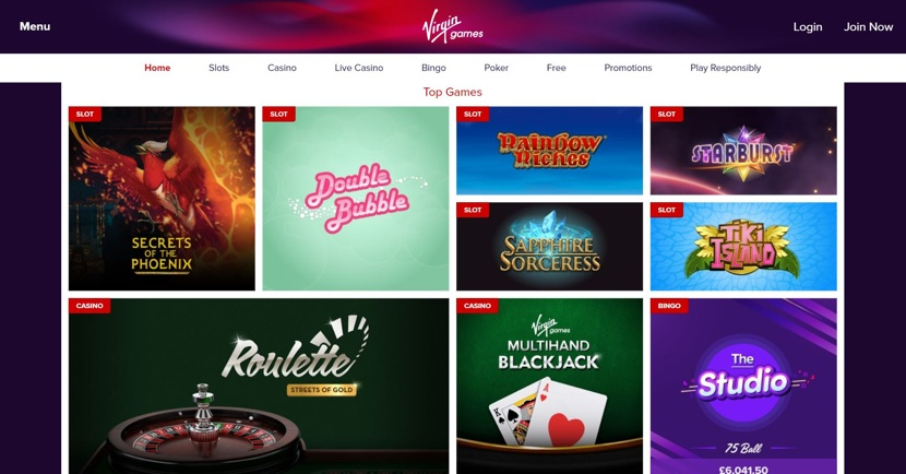 Virgin Games Homepage