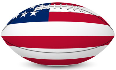 american football painted with US flag