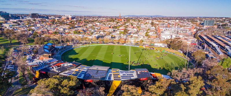 aussie rules football pitch overhead view