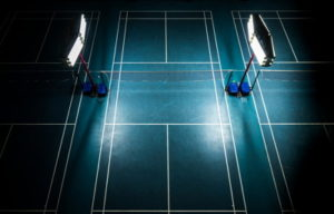 badminton court with powerful lights