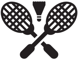 badminton raquets and shuttle cock graphic