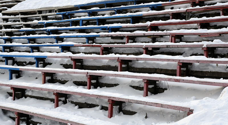 bandy spectator stands covered in snow