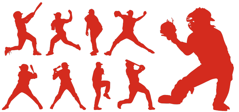baseball icons various play positions