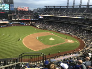 baseball match at citi field from top stand