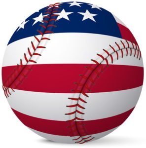 baseball with US flag painted on