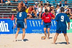 beach football game