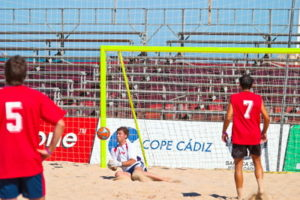 beach football match