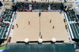 beach volleyball match from above