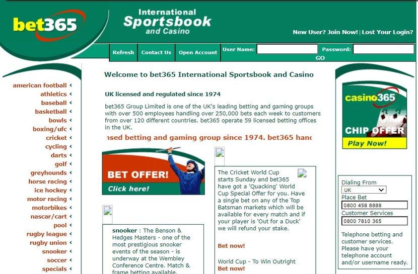 Bet365 Original Website