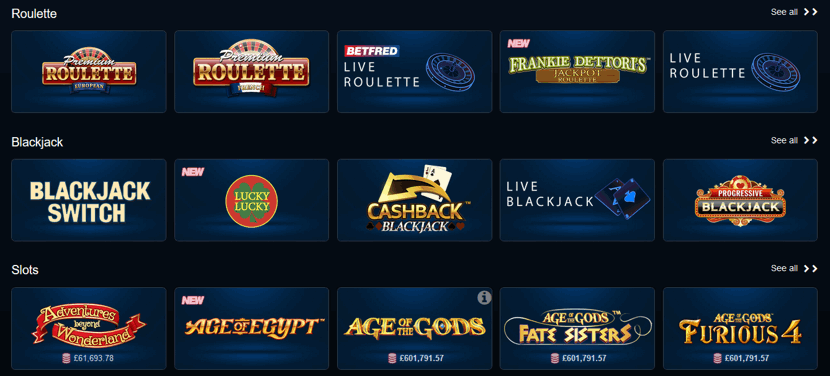 betfred casino games examples