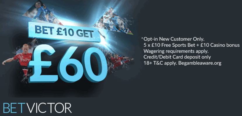 betvictor bet 10 get 60 uk free bet welcome offer