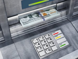 cash dispensed from an atm