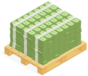 cash out - pile of money on a pallet