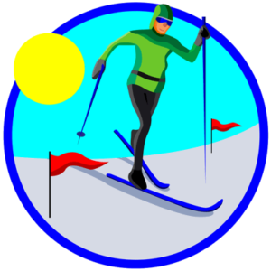 cross-country skiing circle icon