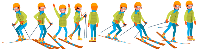 cross-country skiing poses