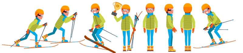 cross-country skiing positions