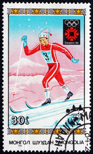 cross-country skiing stamp long