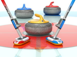 curling stones and brushes