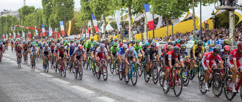 cycling start of a tour de france stage