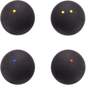 different grades of squash ball