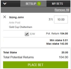 each-way bet example screenshot