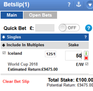each way example of backing an outsider