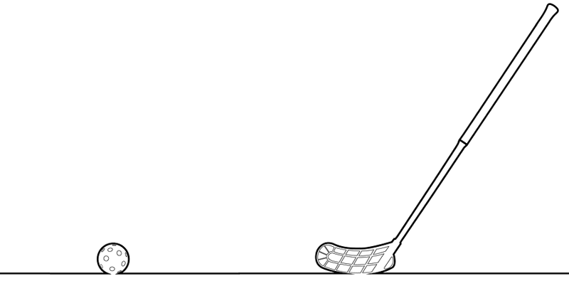 floorball stick and ball graphic