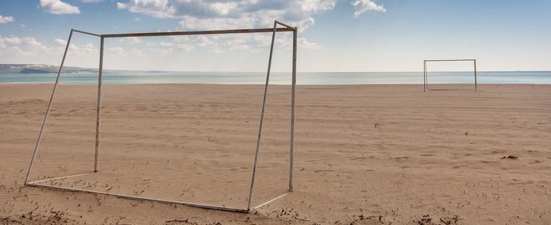 football goals on a beach