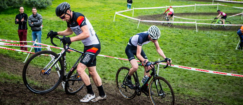 going uphill in a cyclo cross race