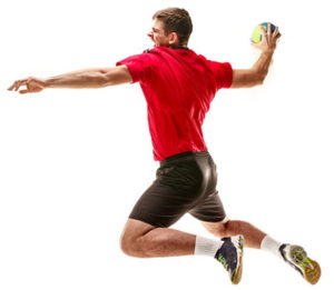 handball player mid air