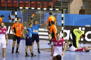 handball referee sends player off