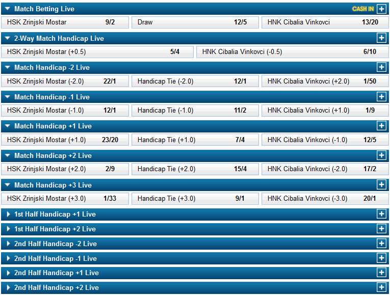 handicap betting live in play example screenshot
