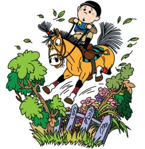 horse and jockey struggle over fence cartoon