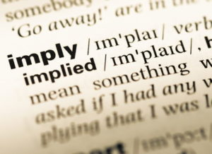 implied word in dictionary