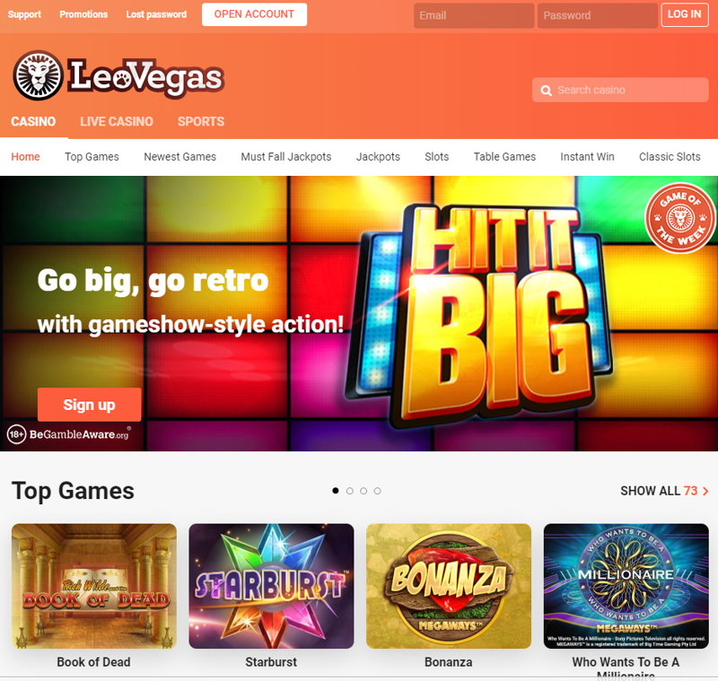 leovegas casino home page screenshot