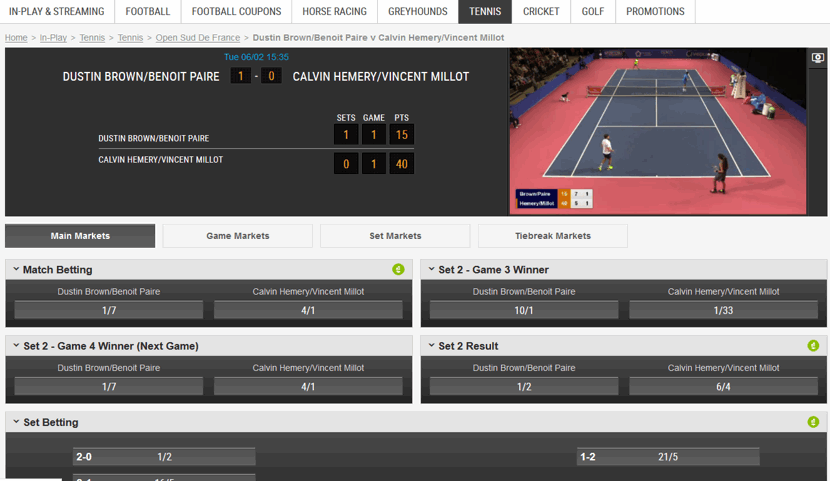 live streaming example of a tennis match with in play betting