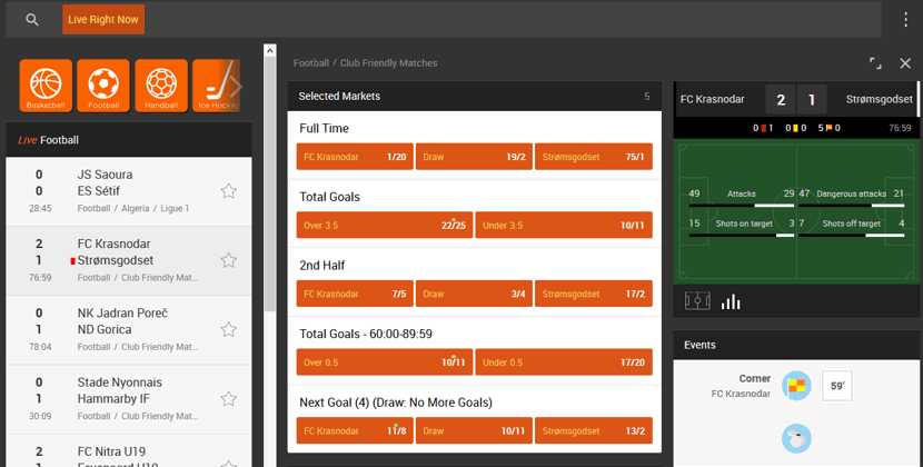 live betting on a football event example screenshot