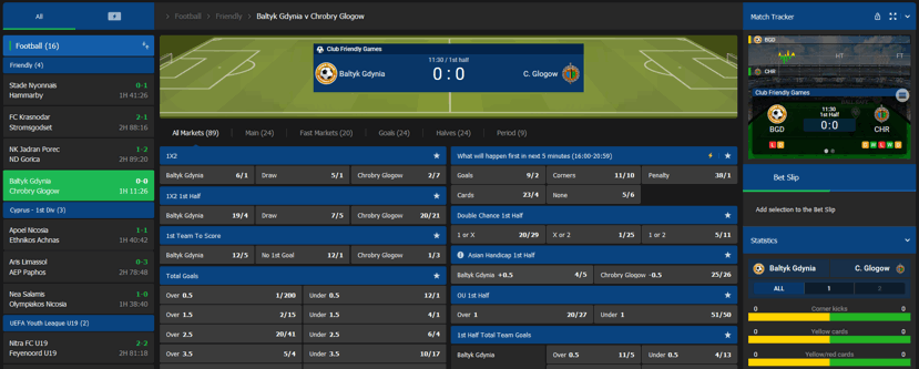 live betting screenshot of complete panel for a football game