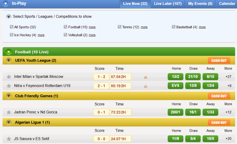 live betting panel example