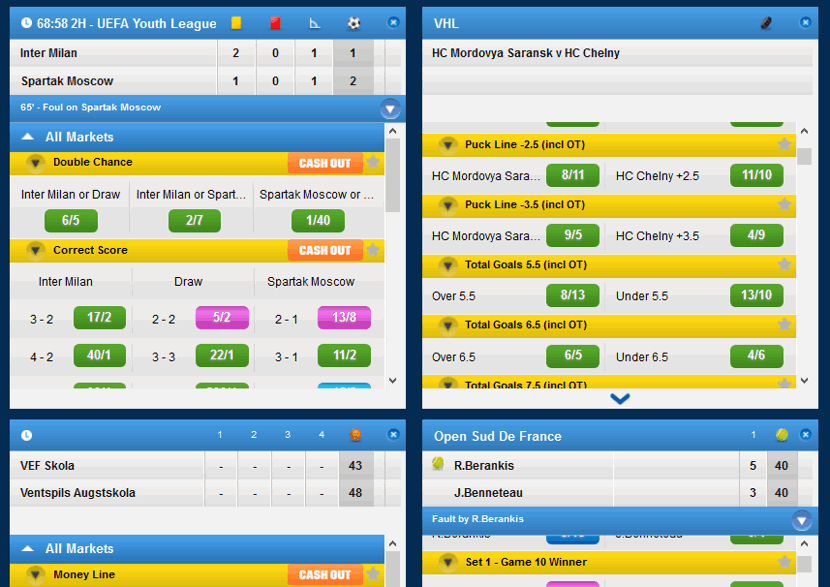 live betting panel examples