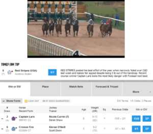Live streaming alongside live in play betting on a horse race