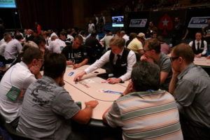 live poker game during tournament