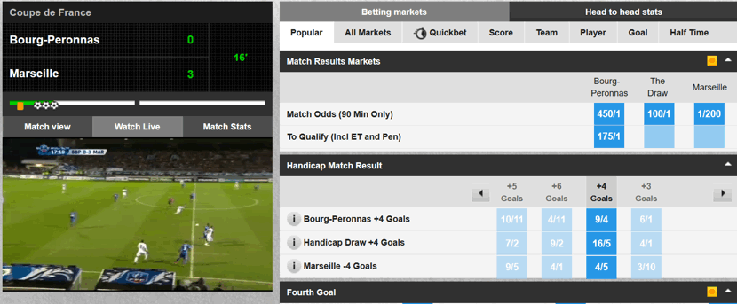 live streaming and betting in play on a football game