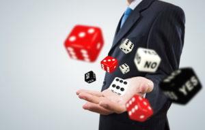 man throwing dice