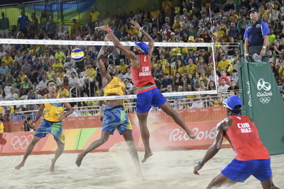 mens beach volleyball match at the olympics