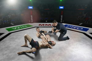 mma fighter in a hold